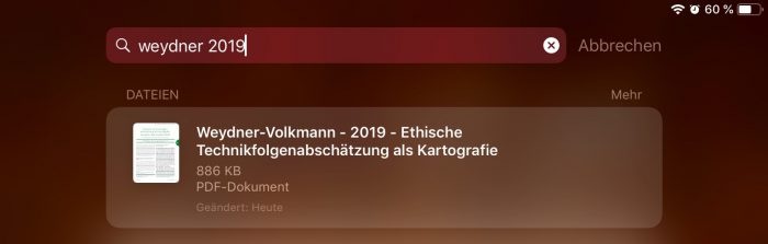 "Entering a text like ""weydner 2019"" will find corresponding PDFs in the complicated Zotero folder structure on iCloud – even when added under Zotero as Weydner-Volkmann"